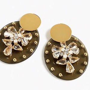 J crew Lucite Crystal sheild earrings